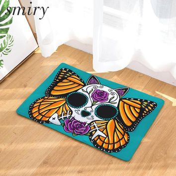 Skull Skulls Halloween Fall Smiry welcome home hallway wrinkle resistant door mats horrifying floral butterfly  pattern rugs light waterproof carpets Calavera