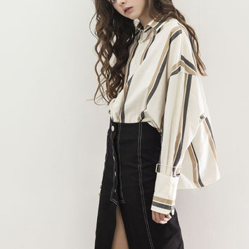 Striped Oversized High Low Blouse