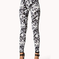 Abstract Floral Print Leggings