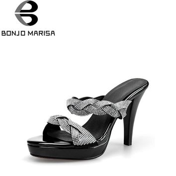 BONJOMARISA 2018 Brand Summer Bling Crystal Genuine Leather Platform Mules Super High Heels Shoes Woman Elegant Pumps