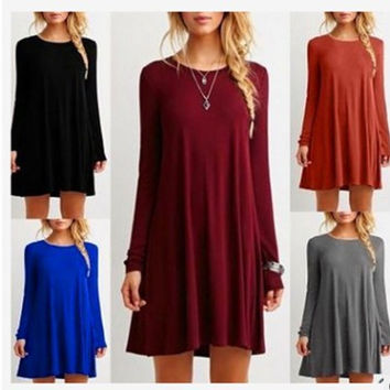 Long Sleeve Slim 10-color Women's Fashion One Piece Dress [10389916365]