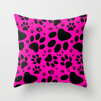 Puppy Paws Pattern Throw Pillow by Silvio Ledbetter