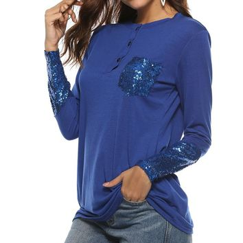 Sequin Autumn Women Sequined Button T-Shirts Top O-Neck Long Sleeve Female Casual Patchwork Pocket Basic T Shirt Plus Size GV213