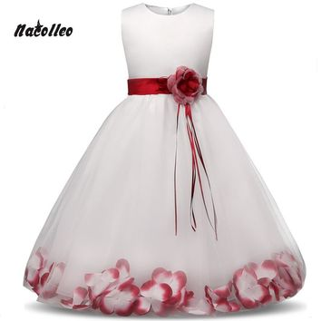New Princess Dress 6 colors Girls Party Wear Petals Evening Gown Children's Costume In Girl Clothing Kids Wedding Party