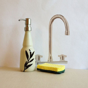 Kitchen Soap Dispenser, Oil and Vinegar bottle, Almond color, willow branch