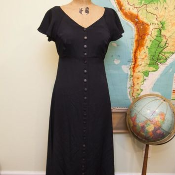 Vintage Betsey Johnson Black Button Dress