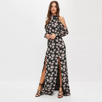 ashion cute print floral off the shoulder long sleeve  woman's Casual long dress