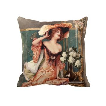 Victorian Pin Up Girl Dress Fashion Costume Paris Pillows