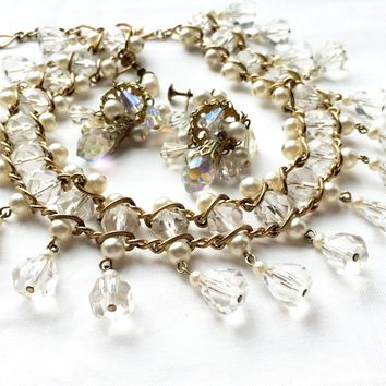 Vintage Jewelry Set Crystals Demi Parure Choker Necklace and Clip on Earrings