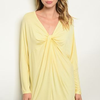 Long sleeve V-neck knotted front jersey tunic top