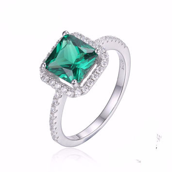 Silver Square 1.8ct Created Emerald 925 Sterling Silver Ring