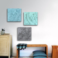Large concrete wall art / ORIGINAL 3 panel (15-Inch x 15-inch)/ Modern Abstract mineral art / Gray, Sky-blue, Sea-foam