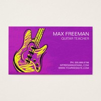 Purple Violet Guitar Teacher Business Card
