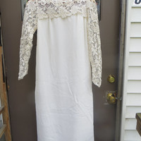 stunning 1960s womens white hand crochet lace wedding dress party gown