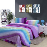 4-piece Bright Multicolor Striped Cotton King Size Bedding Set by unusual