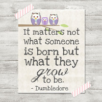 Harry Potter Dumbledore quote poster print  8x10 It matters not what someone is born but what they grow to be