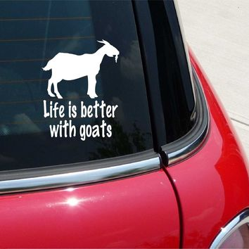 Life Is Better with Goats from Cute Funny Car Decal Sticker