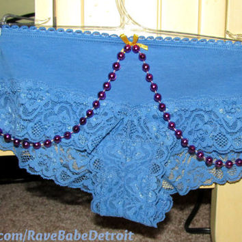 Lace Cheekster Blue Undies, w/ Hanging Beads EDC, Go-Go Dancer Undies. Small/Extra-Small