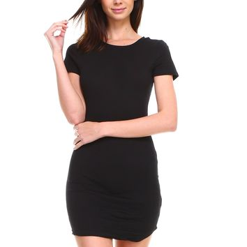 Women's basic cotton round neck casual solid short sleeve bodycon long tunic top dress
