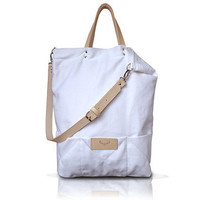 White, cotton tote handbag SEAL / natural leather handles and strap