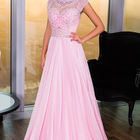 Sleeved Beaded Jovani 21030 Light Pink Prom Dress