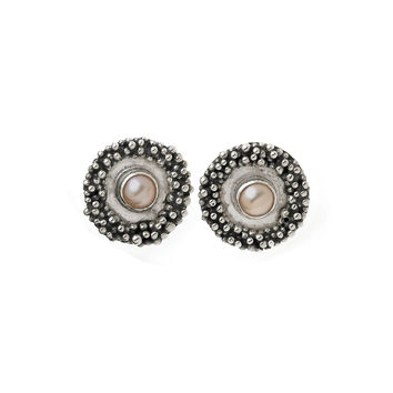 Grasset Rose Sterling Silver Pink Pearl Round Stud Earring