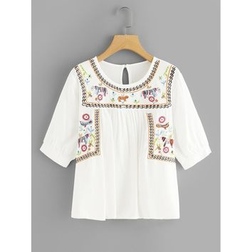 Animal Embroidered Keyhole Back Top
