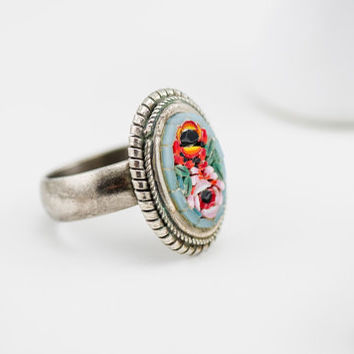 Blue with Roses Italian Micro Mosaic Cocktail Ring