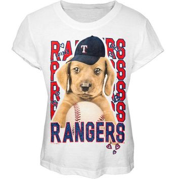 DCCKU3R Texas Rangers - Puppy Dog White Girls Juvy T-Shirt