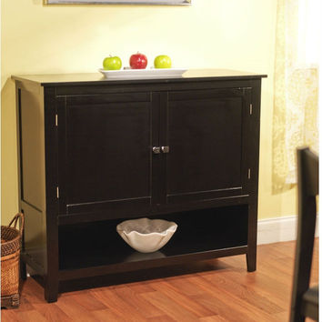 Black Finish Buffet Sideboard Kitchen Dining Storage Cabinet