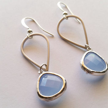 Periwinkle blue framed drops on silver teardrop. Bridal jewelry, wedding jewelry prom earrings