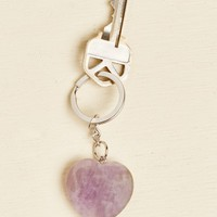 Amethyst Heart Key Chain