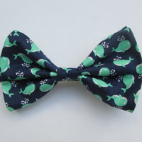 Nautical Preppy Navy Blue with Green and White Whales Hair Bow