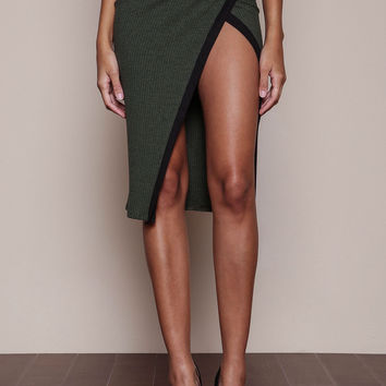 OLIVE STRIPED WRAP RIBBED KNIT SKIRT