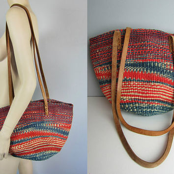 Vintage Tribal Leather Bag Jute Bucket Tote Bag Ethnic Market Woven Hippie Boho Kenya Handbag