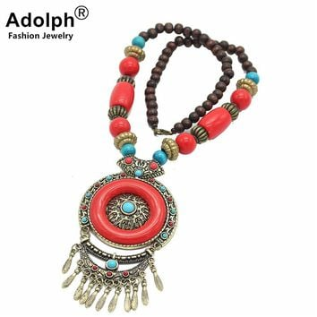 ADOLPH Star Jewelry Ethnic Wood Stone Round Pendants Choker Boho Necklace Female Bohemian Statement Maxi Necklace Accessories