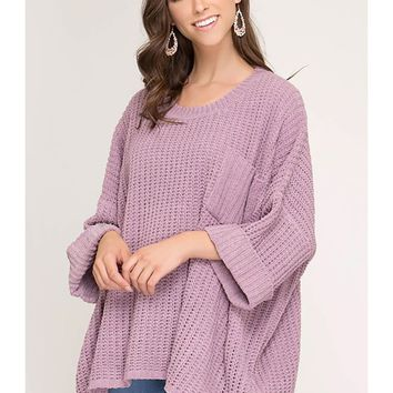 Oversized Soft Chenille Cuffed Sleeves Sweater