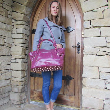 Leather Handbag Leather Purse Leather Bag Purple Large Tote ipad bag Leather Hobo Purse Studded Bottom Strap Cross Body Bag