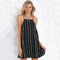 Fashion Casual Backless Stripe Loose Sleeveless Strap Mini Dress