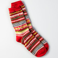 AEO Sweater Print Crew Socks, Red
