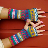 $14.00 Fall Is Here Colorful Fair Isle Recycled by MountainGirlClothing