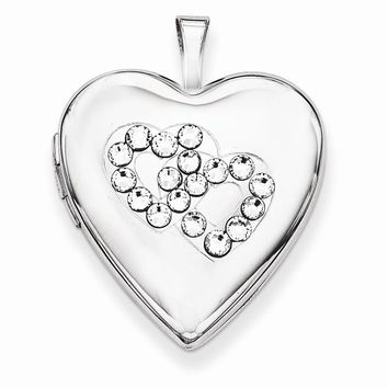 Sterling Silver Crystal Double Hearts Heart Locket