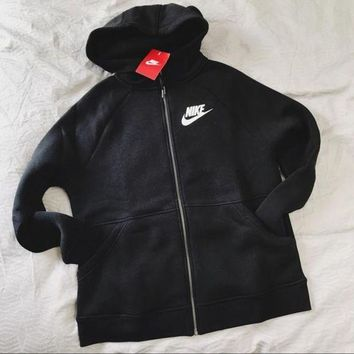 ICIKH3F Nike Black Zip Up Hoodie Jacket Sweater Sweatshirts