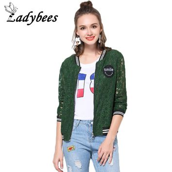 LADYBEES L-5XL Plus Size Women Lace Jacket Vintage Green Crochet 4XL Print Loose Casual Female Jacket Casaco 2018 Summer Autumn
