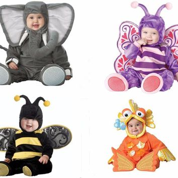 Children Jumpsuits Elephant Butterfly Goldfish Bee Onesuit Kids Girls Boys Baby Animal Cosplay Pajamas Halloween Purim Costumes
