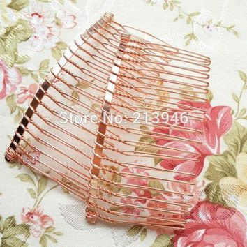 CREYCI7 80*40MM 20PCS ( Rose Red Gold) Metal Hair Comb Claw Hairpins DIY Hair Accessories Findings & Components
