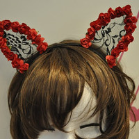 Black CAT ears LOLITA  lace HEADBAND cat ears kitty ears Black Floral Lace Cat Costume Ears Costume Cosplay Party