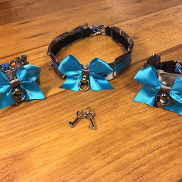 Blue Steel - Pet Play and BDSM Ribbon Collar and Cuff Pair (2)