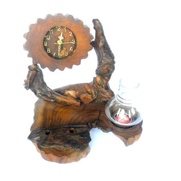 Natural Rustic Wooden Desk Clock Tea Light Candle Holder With Storm Hurricane Glass Art Pencil Pen Holder Driftwood Teak Wood Hand Carved