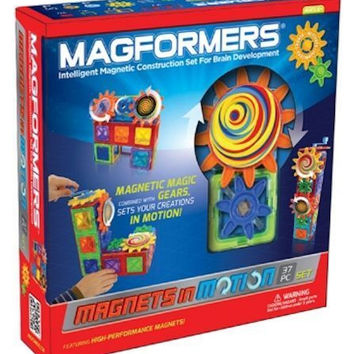 Magformers Magnets in Motion 37 Pcs Magnetic Gear Construction Set